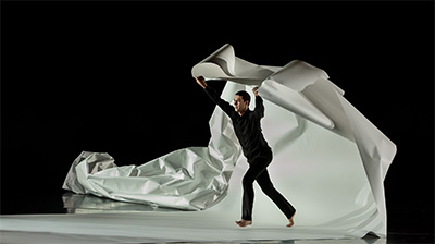 Jonah Bokaer in Recess, with scenography by Daniel Arsham.