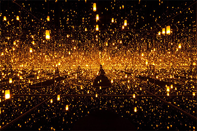 Yayoi Kusama, Aftermath of Obliteration of Eternity, 2009, wood, metal, glass mirrors, plastic, acrylic paint, LED lighting system, and water, the Museum of Fine Arts, Houston, Museum purchase funded by the Caroline Wiess Law Accessions Endowment Fund. Image © Yayoi Kusama. Courtesy of David Zwirner, New York; Ota Fine Arts, Tokyo/Singapore; Victoria Miro, London; KUSAMA Enterprise