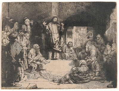Rembrandt Harmensz. Van Rijn Christ Preaching, called La Petite Tombe, c. 1652 Etching, drypoint, and burin on Japanese paper 6 1/8 x 8 1/8 in. Blanton Museum of Art, purchase through the generosity of the Still Water Foundation, The Dean of the College of Fine Arts, and the Archer M. Huntington Museum Fund, 1995