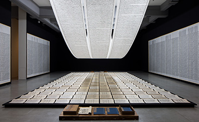 Xu Bing Book from the Sky 1987–91 Installation of books and scrolls printed from carved wood types of invented characters; ink on paper Dimensions variable Installation view at Taipei Fine Art Museum, Taiwan, 2014 Courtesy of Xu Bing Studio.