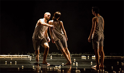 Szabi Pataki, Laura Gutierrez, James McGinn, Szabi Pataki and Sara Procopio in Jonah Bokaer's Why Patterns with scenography by Snarkitecture (Arsham and Alex Mustonen).