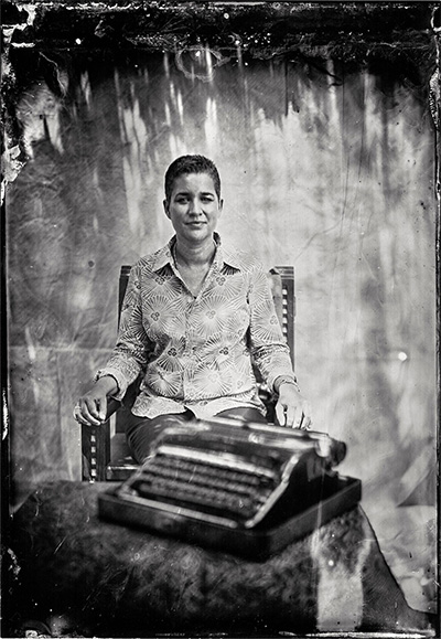 Will Wilson Kathleen Ash-Milby, Citizen of the Navajo nation, Curator NMAI 2012, archival pigment print from original tintype, 22 x 18 inches