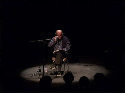 Alvin Lucier performs I Am Sitting in a Room 1970 at the Crowley Theater on May 28, 2016.Photo by Sarah Vasquez.