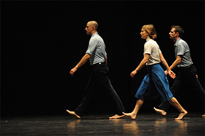 Dancers: Niv Sheinfeld, Keren Levi, Oren Laor of Niv Sheinfeld and Oren Laor Dance Theatre In Big Mouth. Photo courtesy of the artists.