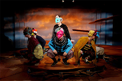 The chorus in Classical Theatre's production of The Birds, with set design by Ryan McGettigan. Photo by Pim Lin.