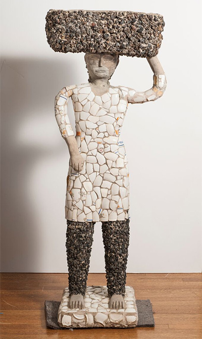 Nek Chand, Untitled, n.d., cement, porcelain, igneous rock, and iron alloy, 40 × 21 × 15 1/2 in. Collection of Stephanie and John Smither. © Nek Chand. Photo: Paul Hester.