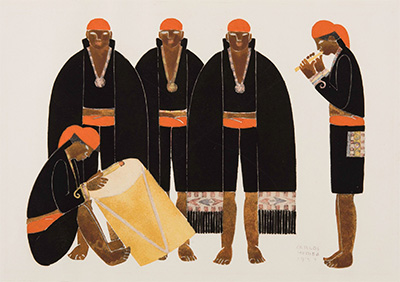 Carlos Mérida, Untitled, 1925-1927, Sin titulo, Part of lmagenes de Guatemala, lithograph, 9 x 13 in., San Antonio Museum of Art. Purchased with funds by the Friends of Latin American Art in memory of Ted Warmbold and from the Friends of Contemporary Art.