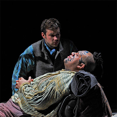 "Stephen Costello as ""Greenhorn"" shown with Queequeg in the Dallas Opera 2010 world premiere of Moby-Dick. Photo by Karen Almond, Dallas Opera."