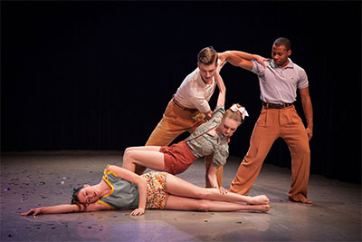 SMU dancers Summer Myatt, Kelsey Rohr, Michael Stone and Chris Dorsey in Joshua L. Peugh's The Hi Betty Cha-Cha. Photo by Kim Leeson.