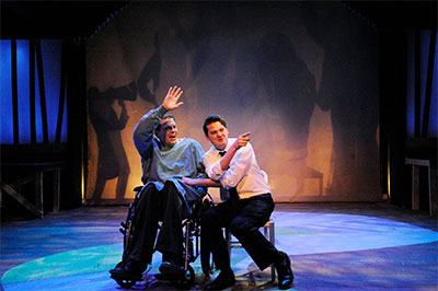 Kregg Dailey and Travis Kirk Coombs in Stages Repertory Theatre's production of Big Fish. Photo by Jon Shapley.