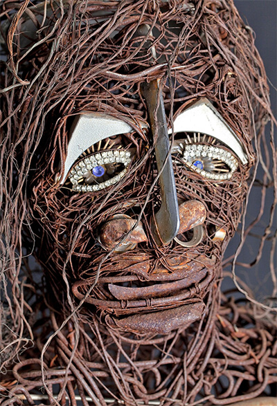 Jesse Lott, Big Girl (A Tribute to Eula Love), detail, 1980 Copper, Aluminum, Steel, wire with found objects 70 x 60 x 24 inches.