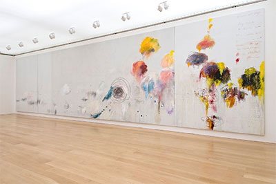 Cy Twombly, Untitled (Say Goodbye, Catullus, to the Shores of Asia Minor), 1994. Oil, acrylic, oil stick, crayon, and graphite pencil on three canvases, overall:157 1/2 x 624 in. (400.1 x 1585 cm). The Menil Collection, Houston, Gift of the artist. © 2015 The Menil Collection, Houston. Photo: Paul Hester