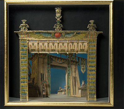 Helen Pond and Herbert Senn, Maquette for Triumphal March, Act II, scene 2, in Aida ca. 1980. Watercolor, ink, and metallic paint on paper and board, with wood, metal, and plastic. Gift of Robert L. B. Tobin.