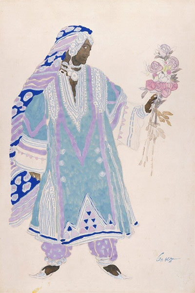 Léon Bakst, Costume design for Indian with a Nosegay in Aladin, ou la Lampe Merveilleuse(Aladdin's Wonderful Lamp), ca. 1919. Watercolor, gouache, and metallic paint on paper, mounted on board. Collection of the McNay Art Museum, Gift of Robert L. B. Tobin.