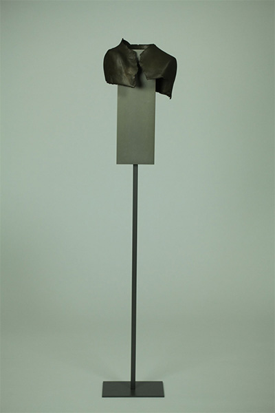 "Frances Bagley, Perched, Organic fibers and Steel, 74"" x 17"" x 13 Credit Andrew Durham,"