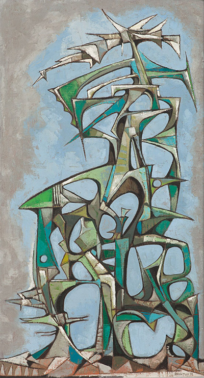 James Boynton (1928¬–2010) Bird Trap, 1952 Oil on canvas Courtesy of Harvell-Spradling Collection and of Sharon Boynton.