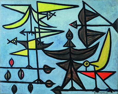 Óscar Domínguez (Spanish, 1906-1957), Birds, 1947. Oil on canvas. Asociación Colección Arte Contemporáneo, Museo Patio Herreriano.