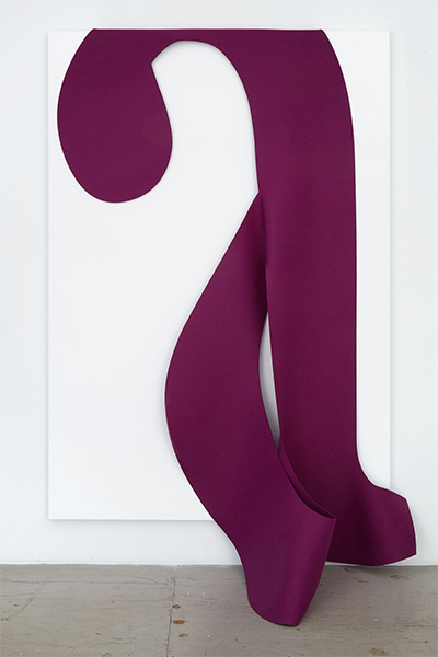 A Line (Cover Letter) , 2015, Synthetic felt, acrylic on canvas, 79 x 48 in, Collec tion of Eleanor and Bobby Cayre, N.Y.