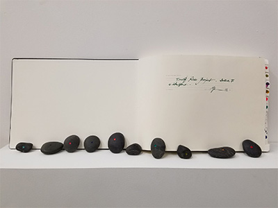 Marcos Lutyens, Trinity River Project: Te n Inductions, 2016, sketchbook, paintings, and induction stones.