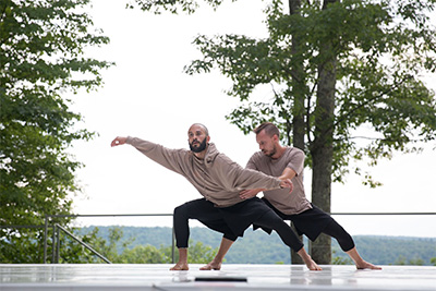 Chadi El-khoury and Joshua L Peugh in his duet Coyotes Tip-Toe at Jacob's Pillow Dance Festival's Inside/Out stage, 2016. Photo by Hayim Heron.
