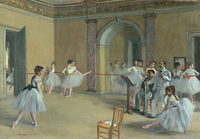 Edgar Degas, Rehearsal Hall at the Opera, Rue Le Peletier, 1872, oil on canvas, Musée d'Orsay, Paris. © RMN-Grand Palais (Musée d'Orsay) / Hervé Lewandowski.