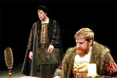 Thomas Cromwell (Joel Grothe) and King Henry VIII (Blake Weir).