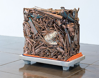 Lily Cox-Richard, Old Copper Futures: 951 lbs. of #2 scrap copper from Revolution Recovery, New Castle, DE, 2016 Copper, concrete, blanket 42 x 26 x 39 inches Originally commissioned and produced by Artpace San Antonio Photo by Adam Schreiber.