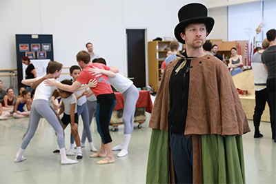 Ian Casady as Drosselmeyer and artists of the Houston Ballet rehearsing Stanton Welch's new Nutcracker. Photo by Amitava Sarkar.