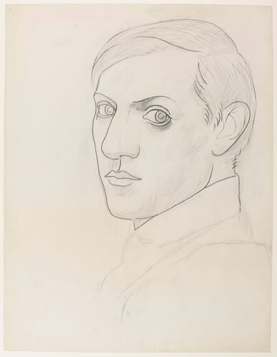 Pablo Picasso Self-portrait (Autoportrait), 1918 Charcoal and graphite on paper 25 1/4 × 19 1/2 in. (64.2 × 49.5 cm) Frame: 35 7/16 × 29 1/2 × 1 3/16 in. (90 × 75 × 3 cm) Musée national Picasso-Paris.