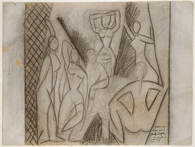 "Pablo Picasso Study for ""Les demoiselles d'Avignon"" (Étude pour ""Les demoiselles d'Avignon""), May 1907 Charcoal on paper 18 3/4 × 25 1/16 in. (47.6 × 63.7 cm) Frame: 26 5/8 × 32 1/2 × 1 1/16 in. (67.7 × 82.6 × 2.7 cm) Kunstmuseum Basel, Department of Prints and Drawings, (1984.494), Gift of Douglas Cooper, Paris, 1984"