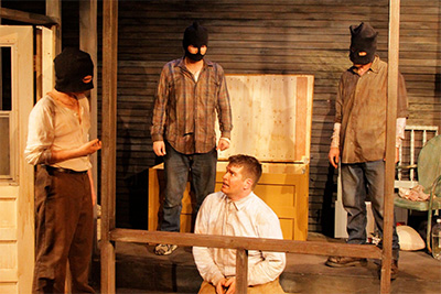 EXIT 27 by Aleks Merilo was part of the Landing Company Reading Series in 2012. Pictured: Danny Dyer as Ryker, James Monaghan as Dodge, Jack Ivy as Shyler and Tim Ashby as Brodie in the 2013 production of Exit 27. Photo by Anne Quackenbush.