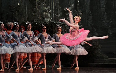 Sara Webb and Artists of Houston Ballet in Ben Stevenson's The Sleeping Beauty. Photo by Amitava Sarkar.