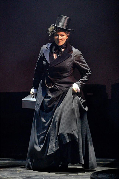 Sally Nystuen Vahle as Scrooge in Dallas Theater Center's A Christmas Carol Credit: Karen Almond